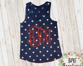 Glitter Monogram Stars Tank Top American Flag Clothing Red White & Blue Tank Patriotic Tank Independence Day Labor Day 4th of July Shirt