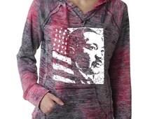 MLK Martin Luther King Day USA American Flag Burnout Hoodies