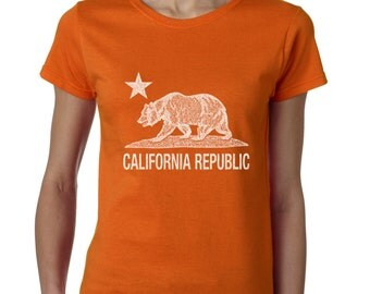 California Republic Bear Nation Ladies T-Shirt Cali Life West Coast Shirts Weed Republic 420 Day