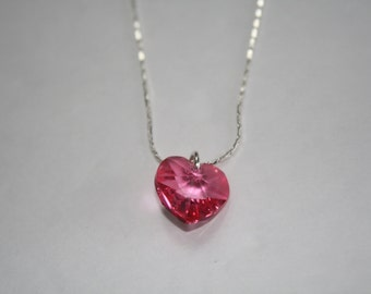 Pink Crystal Heart Necklace, Pink Crystal Necklace, Preciosa Crystal Necklace, Heart Necklace, Pink Heart Necklace