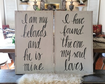 Set of two, 18x36 Handpainted Signs - Song of Solomon