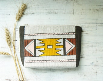 Boho Cosmetics Makeup Travel Bag Cosmetic Pouch Hand Painted Linen Cosmetic Bag Aztec Girlfriend gift Gift for Mom