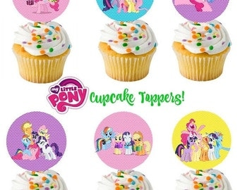ON SALE My Little Pony Cupcake toppers- party circles- favor tags- instant download