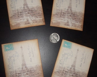 FOUR Vintage Eiffel Tower Postcard hang Tags / Gift Tags