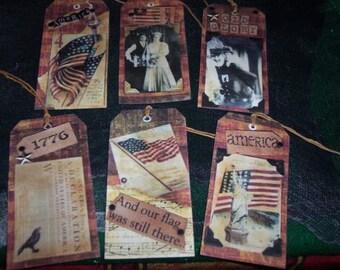 SIX Large Patriotic Americana Primitive Hang Tags / Gift Tags