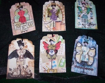 SIX Vintage Steam punk Sewing Hang Tags / Gift Tags