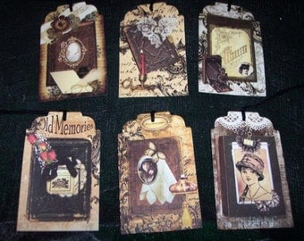 SIX Vintage Photo Album Scrap Book Memories Hang tags, gift tags