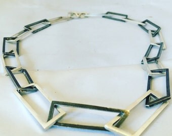 Linked necklace sterling silver oxidised no70