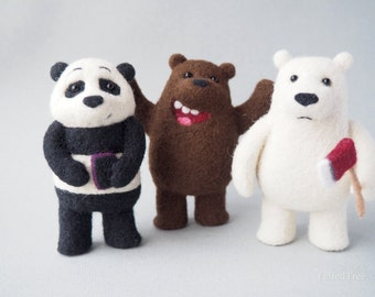 We bare bears felted wool toy needle felting grizz panpan ice bear cartoon natural eco animal handmade