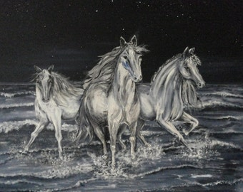 Trio; Original, acrylics, image, acrylic painting, horses, sea, animals
