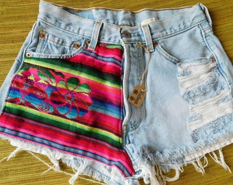 Vintage upcycled boho Levis with floral pattern