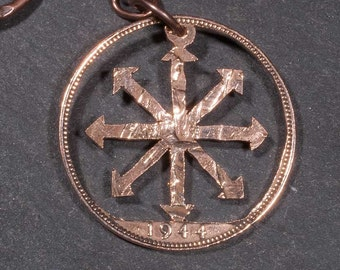 Chaos Star Symbol Cut Coin Keychain or Necklace