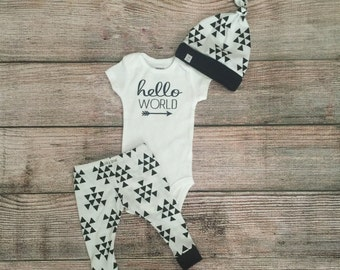 Newborn Take Home Outfit/ Baby Hello World Black Triangle Outfit