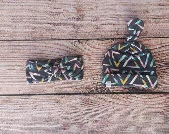 Baby/ Toddler/ Adult Knot Headband OR beanie / girl triangle knit / newborn hat / newborn headband / girl headband / girl beanie