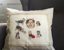Hand stitched pillow with Yorkshire terrier