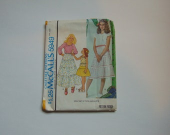 McCall's 5949 Girls Gathered and Tiered Peasant Skirt and Blouse Pattern Size 8