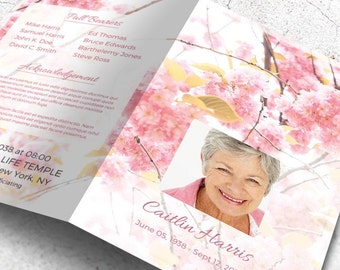 Printable Memorial Program | Printable Funeral Program Template | Memorial Program | Remembrance | Editable with MS Word | Sweet Blossom