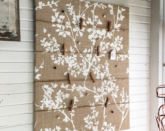 Burlap bulletin board, pin board, memo board, message board, floral burlap, painted burlap, twine clipboard accents