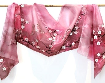 "Hand Painted Silk Scarf, pink scarf with flowers, cherry blossom and butterflies. Approx 18"" x 71"" (45 x 180 cm)."