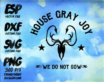game of thrones House Gray joy Clipart , SVG Cutting , ESP Vectors files , T shirt , iron on , sticker ,Personal Use