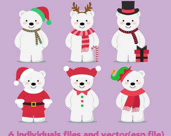 Christmas polar bears collection Clipart, Digital Download ,Quotes Scrapbooking, Supplies, Vectors files ,Personal Use