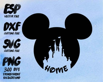Mickey head castle home Clipart , SVG Cutting , ESP Vectors files , T shirt , iron on , sticker ,Personal Use