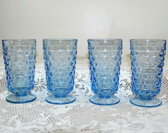 Set of 4 Indiana Glass Whitehall Pattern Blue Footed Tumblers Goblets - Cubist Block Faceted