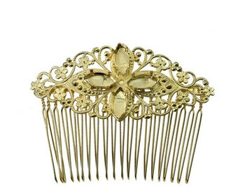 navette 7x15 mm with vintage element hair comb