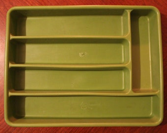 Vintage Avocado Green Silverware Tray Organizer