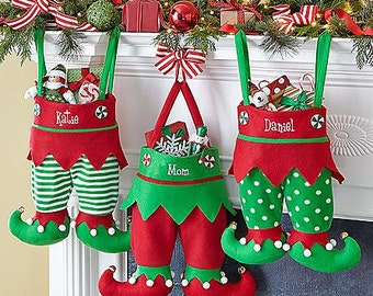 Embroidered Elf Christmas Stockings