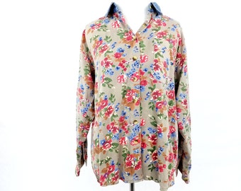 Vintage 1990s Rhythm Blue Floral Button Up Denim Collar Womens Small