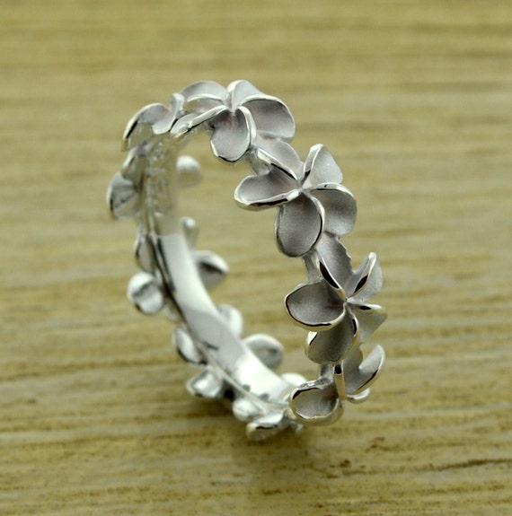 hawaiian 8mm sterling silver plumeria ring by