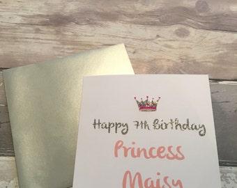 Princess birthday card - princess card - number card - number birthday- custom birthday card - princess crown - birthday princess - girls
