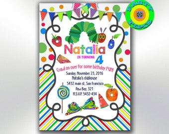 Very Hungry Caterpillar Invitation - Caterpillar Birthday Party Invites - Hungry Caterpillar Printable Boy Girl Neutral Invitation