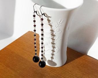 Long earrings Gemstone natural garnet and onyx trend 2016 summer beaded earrings
