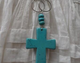 Turquoise Stone Crucifix Necklace - NRU103