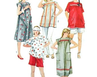 1985 Simplicity 6857 Maternity Dress and Top with Shoulder Button Closing, Pants and Shorts, Uncut, Factory Folded Sewing Pattern Size 14