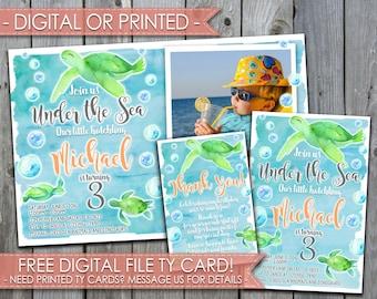 Sea Turtle Birthday Invitation, Sea Turtle Birthday Party Invitation, Invite, Watercolor, Blue, Green, Little Hatchling, Under the Sea, #371