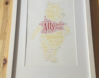 Framed word art, Winnie the Pooh design, fully personalised gift idea, birthday, christening, new baby hundred acre wood theme