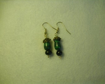 Malachite and Black Bead Wire Earrings