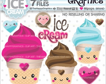 80%OFF - Ice Cream Clipart, Ice Cream Graphic, COMMERCIAL USE, Ice Cream Party, Summer Clipart, Planner Accessories, Food Clipart