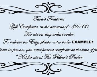 Shop Gift Certificates - 10 Dollars