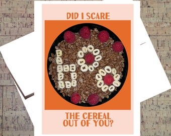 Halloween Card, Halloween Greeting Card, Happy Halloween Card, Funny Halloween Card, Halloween Note Card, Halloween Food, Breakfast Card