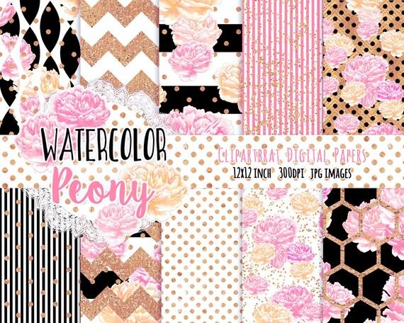 WATERCOLOR FLORAL Digital Paper Pack Black White Pink