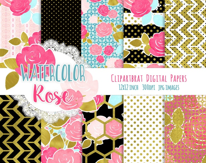 WATERCOLOR ROSE Digital Paper Pack Black & White Pink with Gold Metallic Commercial Use Digital Papers Floral Stripes Chic Digital Paper