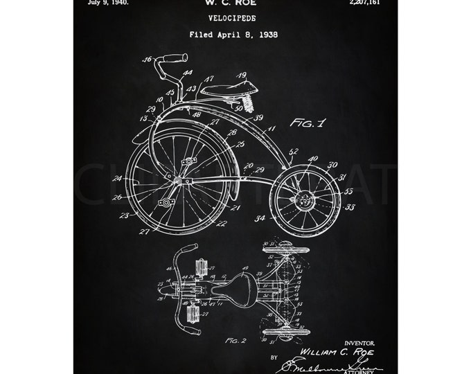 1938 TRICYCLE PRINTABLE Art Print Intsant Download Child Tricycle Patent Diagram Digital Art Antique Tricycle wall Art Printable Poster Art