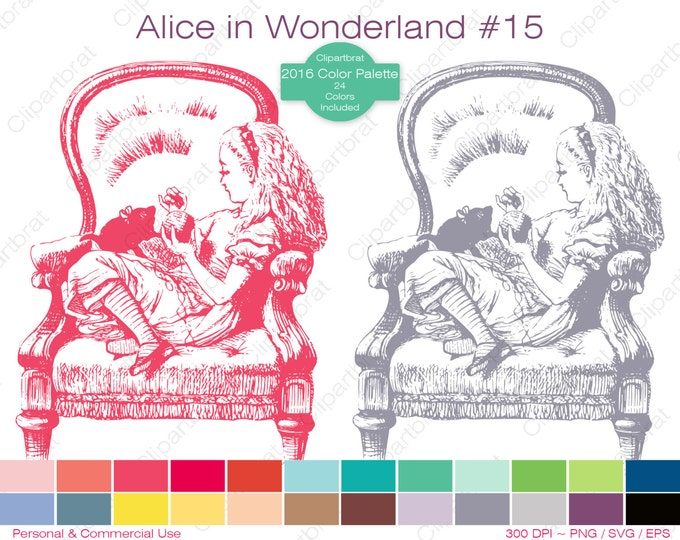ALICE IN WONDERLAND Clipart Commercial Use Clipart Alice Kitten Graphic 2016 24 Color Palette John Tenniel Digital Stamp Vector Png Eps Svg