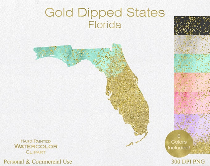 WATERCOLOR & GOLD FLORIDA Clipart Commercial Use Clipart United States Shape Wedding Clipart Gold Confetti Dust Florida State Clip Art