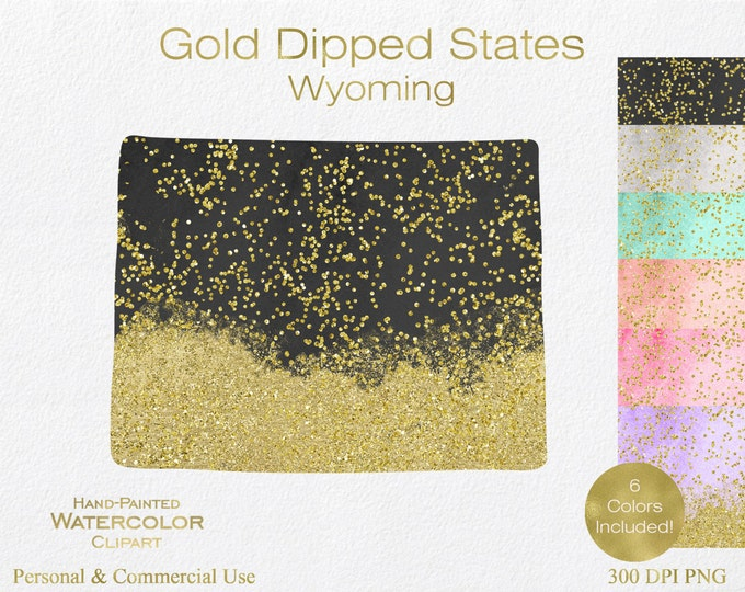 WATERCOLOR & GOLD WYOMING Clipart Commercial Use Clipart United States Shapes Wedding Clipart Gold Confetti Dust Wyoming Clip Art Graphics