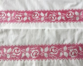 Vintage pillowcases pair standard or queen. Beautiful pink